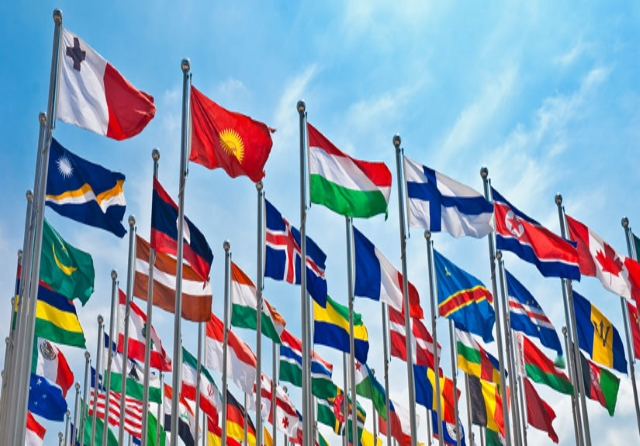 Flags of diferents european countries.